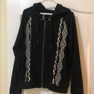 Miss Me Black Sweatshirt - Flower Embroidery - M